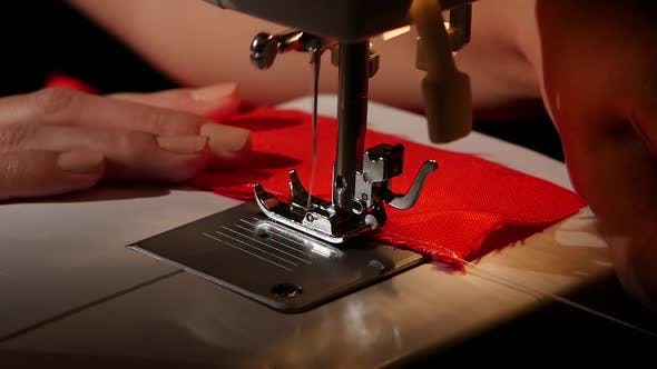 Thumbnail for Sew on a Sewing Machine. Slow Motion
