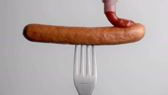Thumbnail for Tomato Hot Sauce Drops To the Sausage in Slow Motion, Tomato Ketchup with Meat, Sausage on Fork, DCI