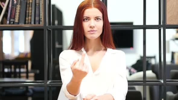 Thumbnail for Middle Finger, Upset Woman Shows Aggression, Indoor