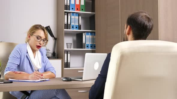 Thumbnail for Human Resource Woman Worker Interviewing a Male Candidate