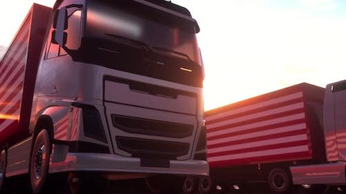 Semitrailer Trucks Load or Unload at Warehouse Bays with Flag of the USA