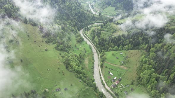 Thumbnail for River in the Mountains. Slow Motion. Carpathians. Ukraine. Aerial.