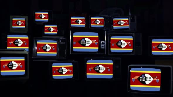 Thumbnail for Eswatini or Swaziland Flag  on a Retro TV Wall.