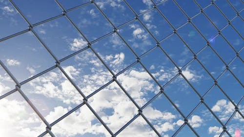 Chain Link Fence and Blue Sky Behind Them and Moving Along Iron Fence