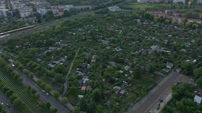 Aerial View of Block of Community Gardens in Urban Neighbourhood