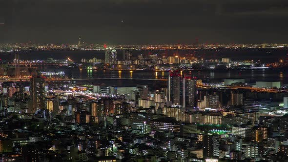 Thumbnail for Kobe Transport Port at Illuminated Night Timelapse