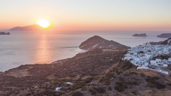 Thumbnail for Hyper Lapse Aerial of Sunset Above Typicall Greek Village on Milos Island in Greece
