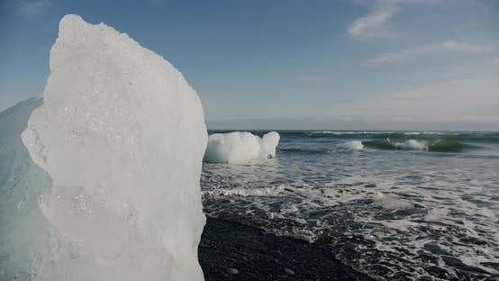 Thumbnail for Crystal Ice Melting on Volcanic Beach in Diamond Beach on Iceland or Jokulsarlon.