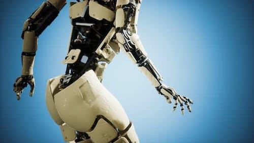 Футуристический гуманоидный женщина-робот в концепции будущего