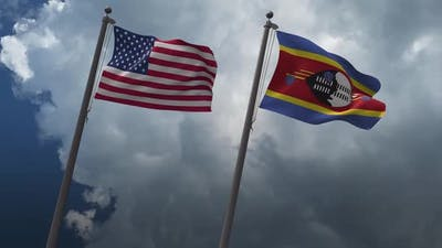 Waving Flags Of The United States And Eswatini 2K