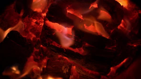 Close Up Of Red Fire Wood Flames 2