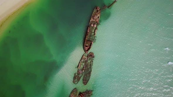 Thumbnail for Aerial view of Moreton island shipwrecks in Australia.