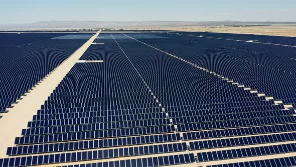 Thumbnail for Cinematic  Aerial View From Drone. Solar Farm in the Desert Landscape, USA
