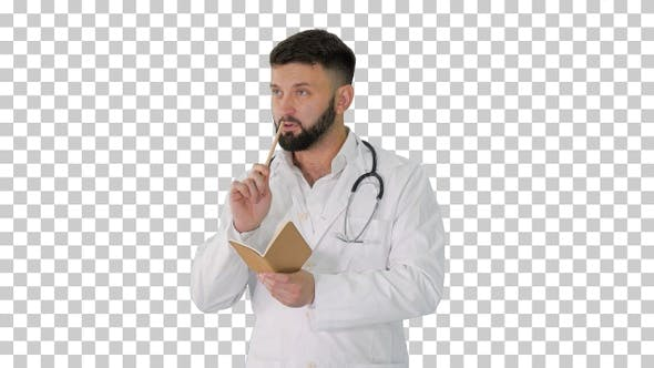 Thumbnail for Turk doctor holding pen and notebook looking, Alpha Channel