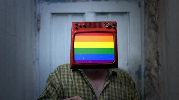 The LGBT Pride Flag on the Television Head of a Man.