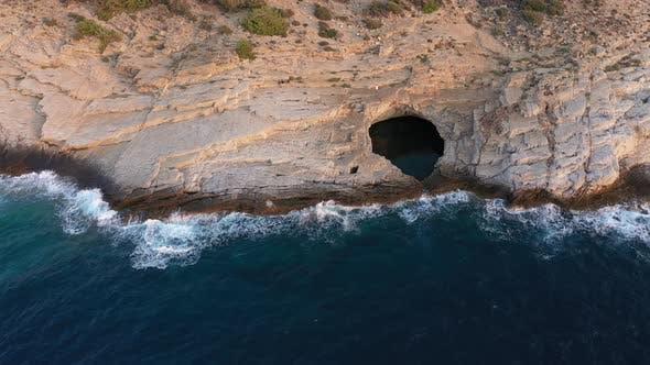 Flying Above Giola Lagoon Near the Sea and Rocky Coastline of Thassos Island