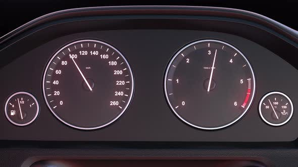 Thumbnail for Car Speedometer Picking Up Speed at Night