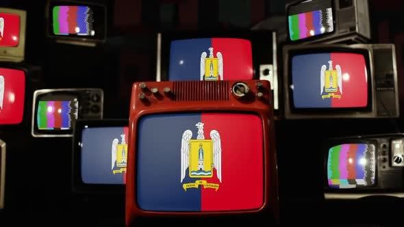 Flag of Valparaiso, Chile, on Retro TVs.
