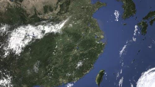 Route eines Kommerziell Flugzeugs, das nach Shaoxing China fliegt