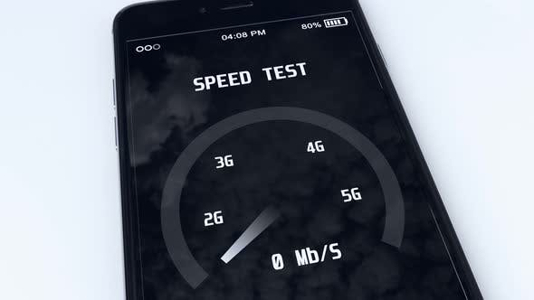 5g Technology Concept with Speed Test Mobile Application Running on Smartphone 4k