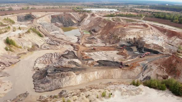 Huge industrial quarry of extraction of iron ore, clay, stones and minerals.