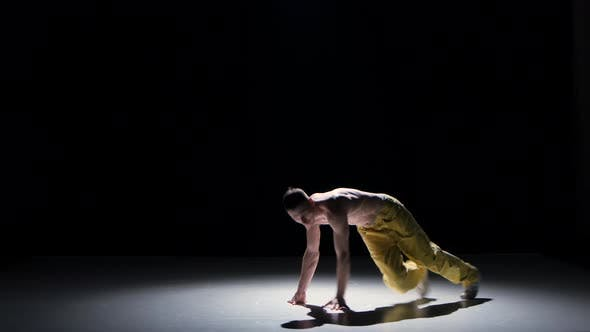 Thumbnail for Breakdance Dancer Man in Yellow Suit with Naked Torso Dance on Black, Shadow