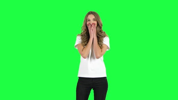 Thumbnail for Lovable Girl Smiling While Looking at Camera. Green Screen