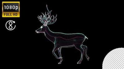 Neon Deer Walking
