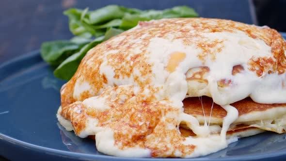 American Style Breakfast Eggs And Pancake