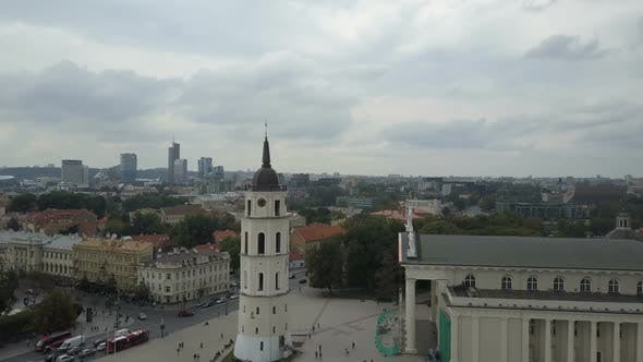 AERIAL View of Bell Tower in Vilnius, Lithuania. Flight Around Varpines Bokstas