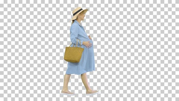 Thumbnail for Attractive pregnant woman smiling and walking, Alpha Channel