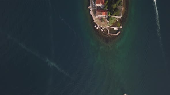 Aerial Footage of St. George and Monastery on the Islands Near Perast Town in Kotor Bay