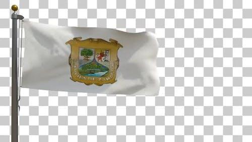 Coahuila Flag on Flagpole with Alpha Channel