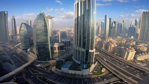 Futuristic Modern Cityscape Infrastructure of Buildings and City Streets