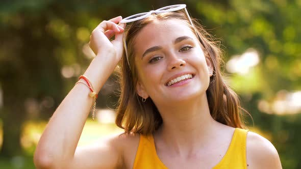 Thumbnail for Portrait of Happy Teenage Girl in Summer Park