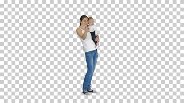 Thumbnail for Happy Mom and Cute Kid Baby Son Waving Hands Saying Hi to Camera
