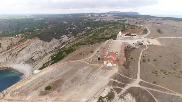 Thumbnail for Aerial View of Ancient Monastery Near Coastline