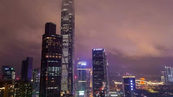 Thumbnail for Shenzhen Central Business District Aerial Panorama China Timelapse at Night Pan Up