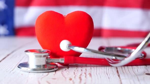 Heart Shape Symbol Stethoscope White Background
