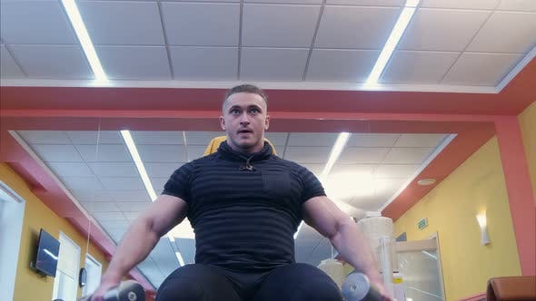 Thumbnail for Muscular Bodybuilder Doing Exercises with Dumbbells in Gym