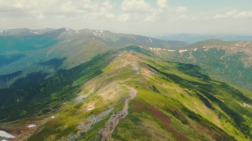 Flight Over the Mountain Range of Montenegro in the Ukrainian Carpathians