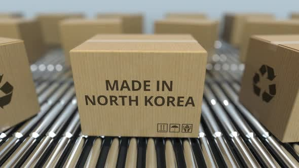 Thumbnail for Cartons with MADE IN NORTH KOREA Text on Conveyor