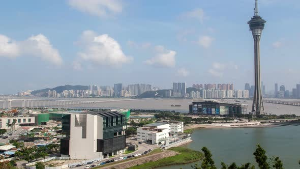 Thumbnail for Macau Tower and Bridge Traffic Cityscape Day Timelapse Pan Up