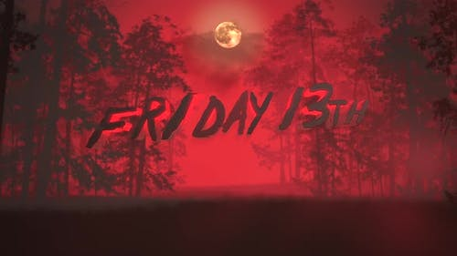 Animation text Friday 13th and mystical background with dark forest and fog