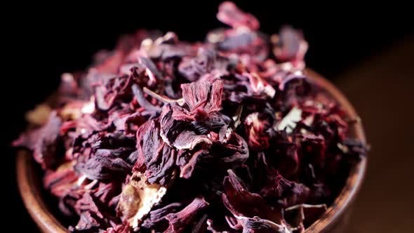 Large Leaves of Hibiscus Red Dry Tea Background Close Up