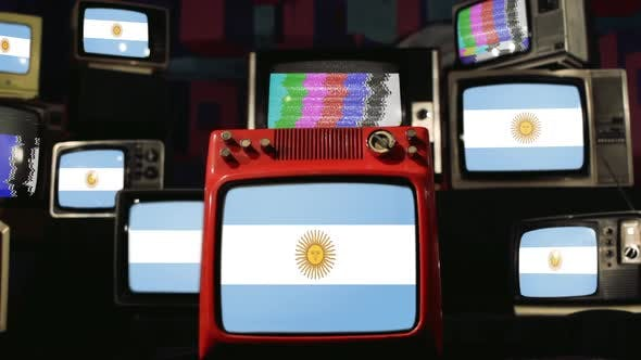 Argentina Flag and Vintage Television Stack.