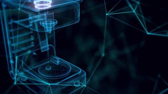 Juice Machine Hologramm aus nächster Nähe 4k