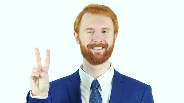 Thumbnail for Victory Sign by Red Hair Beard Businessman