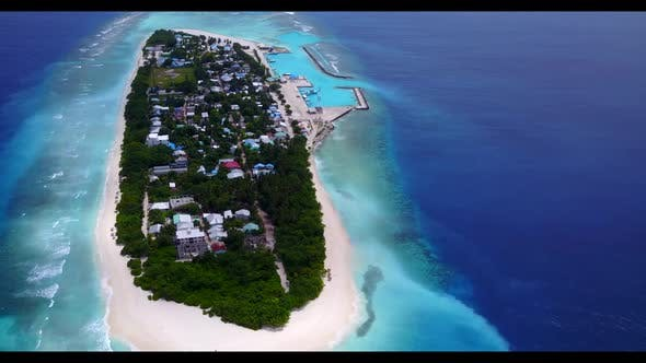Aerial texture of exotic coastline beach vacation by blue sea and white sand background of a dayout
