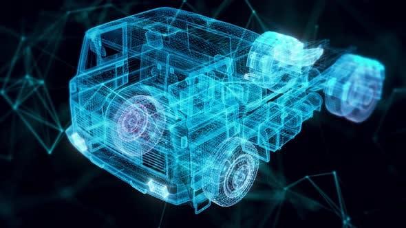 Truck Hologram Close Up 4k